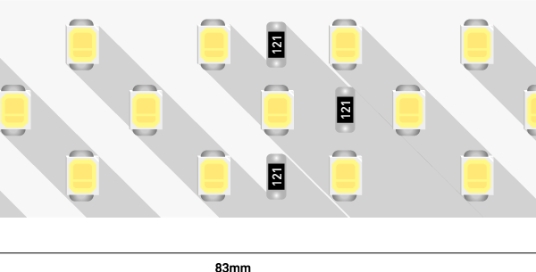 Лента светодиодная LUX, 2835, 252 LED/м, 24 Вт/м, 24В, IP33, Нейтральный белый (4000K)