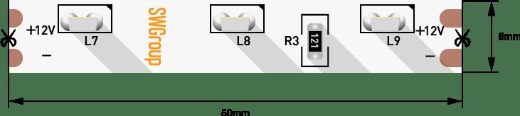 Лента светодиодная стандарт 315, 60 LED/м, 4,8 Вт/м, 12В , IP20, Цвет: Холодный белый