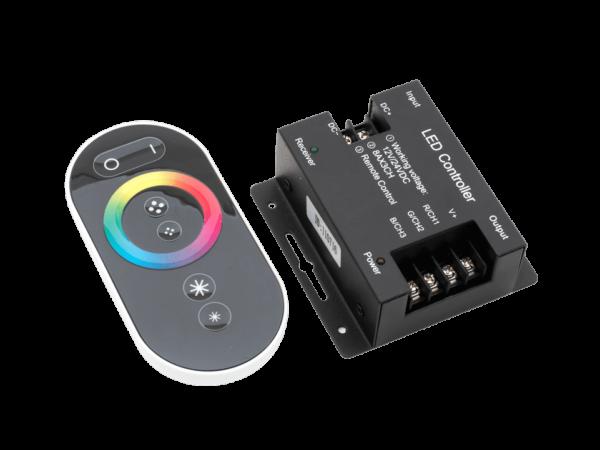 Контроллер для ленты RGB черный сенсорный, 24А, 12/24 Вольт, RF-RGB-S-24A