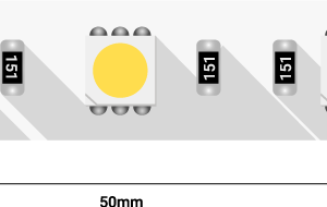 Лента светодиодная LUX, 5050, 60 LED/м, 14,4 Вт/м, 12В, IP33, Теплый белый (2700K)