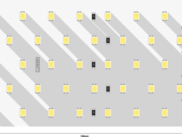 Лента светодиодная LUMKER, 2835, 350 LED/м, 31 Вт/м, 24В, IP33, Теплый белый (3000K)