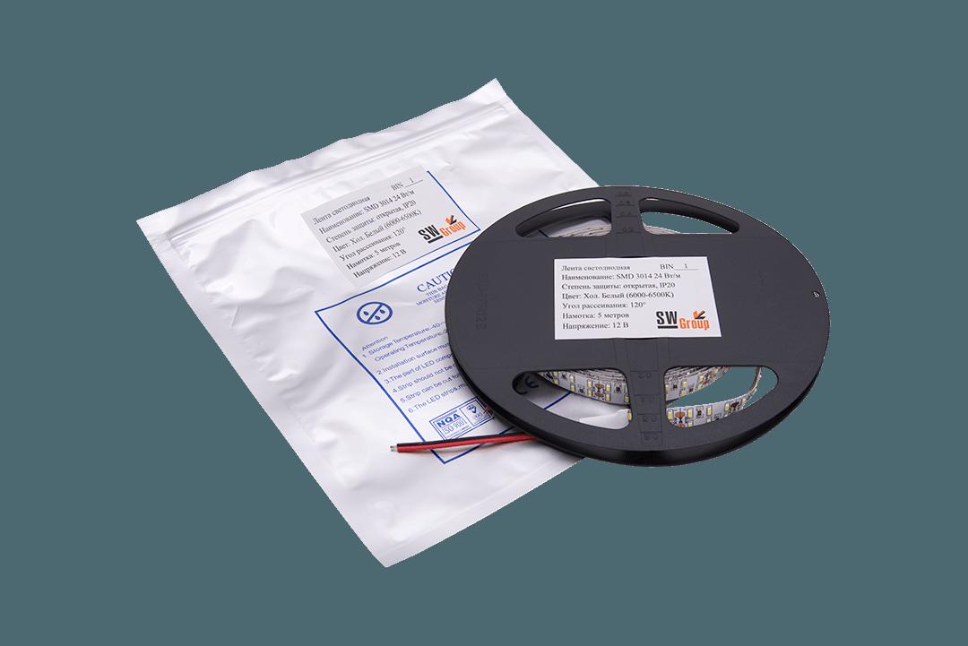 Лента светодиодная стандарт SMD 3014, 240 LED/м, 24 Вт/м, 12В , IP20, Цвет: Холодный белый