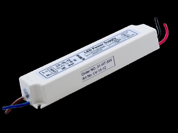 Блок Питания для ленты IP 67 пластик 15 W, 12V
