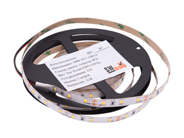 Лента светодиодная стандарт 2835, 60 LED/м, 4,8 Вт/м, 12В, IP20, Цвет: Теплый белый (3000К)