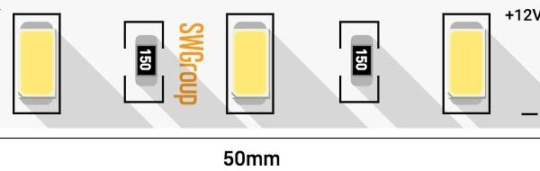 Лента светодиодная стандарт 5630, 60 LED/м, 20 Вт/м, 12В , IP20, Цвет: Теплый белый