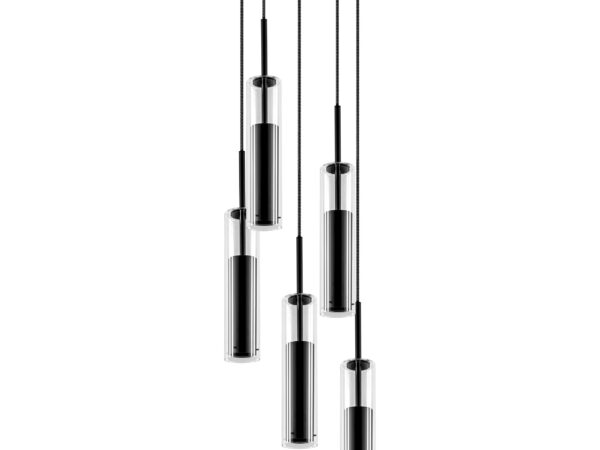 756057 (MD6913-5A) Люстра CILINO 5х40W GU10 MATT BLACK (в комплекте)