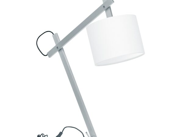 766919 (MT2344-S) Настольная лампа MECCANO (2 КОР!) 1x60W E27 ХРОМ/БЕЛЫЙ ткань (в комплекте)