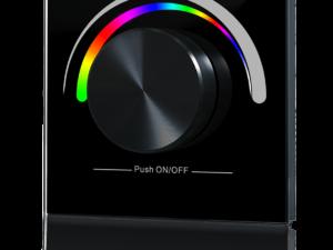 Радио панель W-RGB (B) встраиваемая в стену с валкодером на 1 зону  для RGB ленты, черная