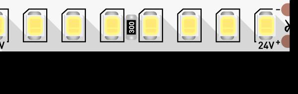 Лента светодиодная ПРО 2835, 160 LED/м, 14,4 Вт/м, 24В , IP20, Цвет: Теплый белый