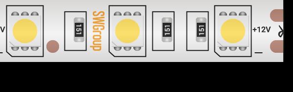 Лента светодиодная стандарт 5050, 60 LED/м, 14,4 Вт/м, 12В , IP68, Цвет: Синий