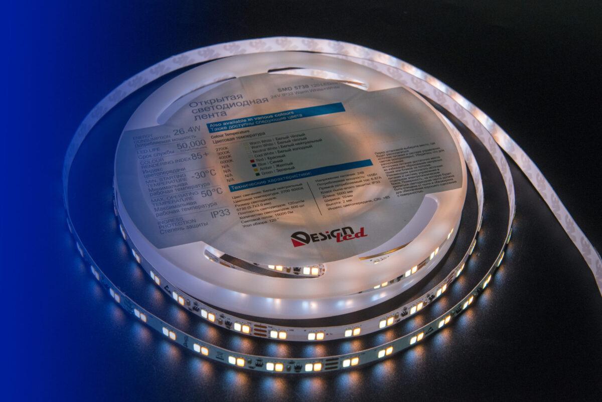 Лента светодиодная LUX, 5730, 120 LED/м, 26,8 Вт/м, 24В, IP33, Теплый белый + холодный белый (2700+6000K)