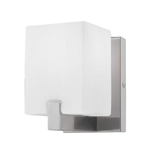 805610 (MB758-1) Светильник настенный QUBICA 1х40W E14 13см НИКЕЛЬ/БЕЛЫЙ (в комплекте)