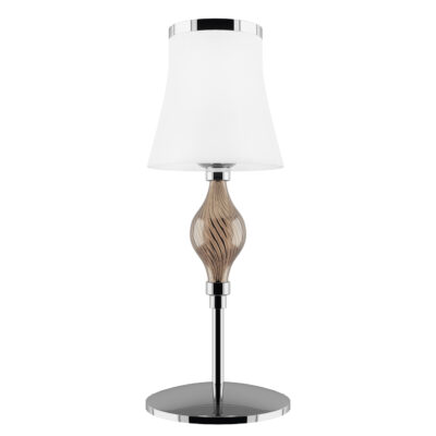 806910 (MT2067-1L) Настольная лампа ESCICA 1х40W E14 БЕЛЫЙ/КОНЬЯК/ХРОМ (в комплекте)