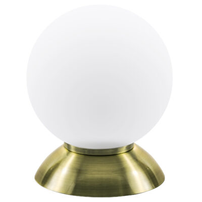 813911*** (MT5092-1EB)  Настольная лампа GLOBO 1х40W  E14 electroplating bronze/white (в комплекте)