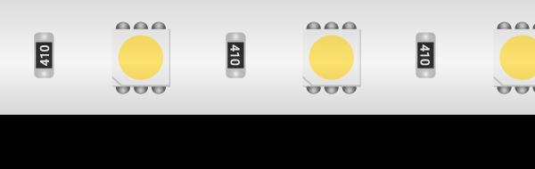 Лента светодиодная LUX, 5050, 60 LED/м, 14,4 Вт/м, 24В, IP65, Холодный белый (6000K)