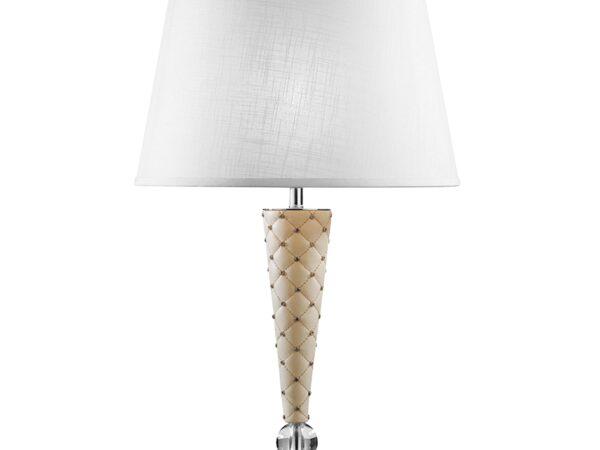 870926 (PD1257-3) Настольная лампа GRAZIA 1х60W E27 КОЖА/БЕЛЫЙ/ХРОМ (в комплекте)