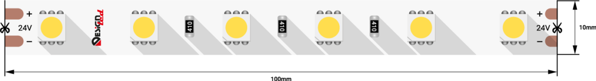 Лента светодиодная LUX, 5050, 60 LED/м, 14,4 Вт/м, 24В, IP33, Холодный белый (6000K)