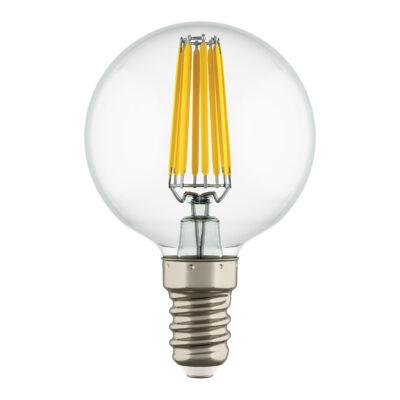 933802*** Лампа LED FILAMENT 220V G50  E14 6W=65W 400-430LM 360G CL 3000K 30000H (в комплекте)