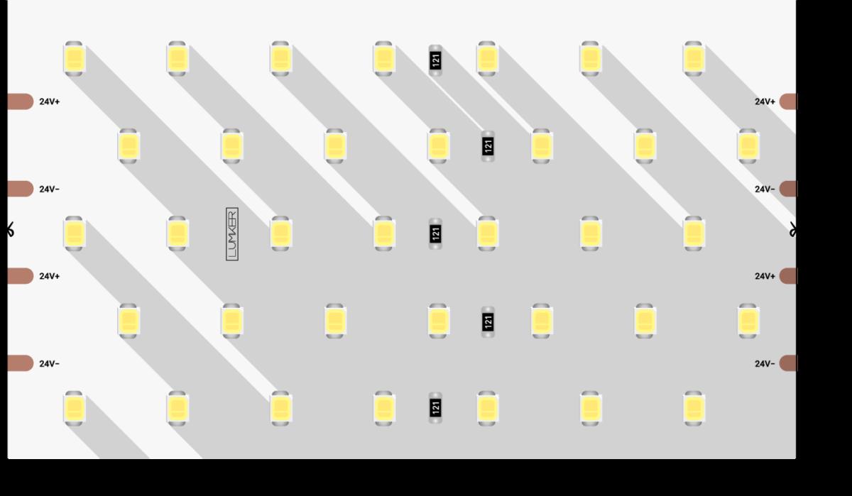 Лента светодиодная LUMKER, 2835, 350 LED/м, 31 Вт/м, 24В, IP33, Нейтральный белый (4000K)