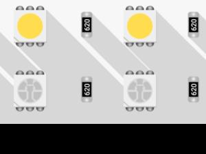 Лента светодиодная LUX, 5050, 120 LED/м, 28,8 Вт/м, 24В, IP33, RGB + холодный белый (RGB+6000K)