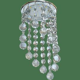 Светильник Ecola GX53 H4 Glass Круглый с большими хрусталиками на подвесе «под скос» Тонированный /Хром 225×110