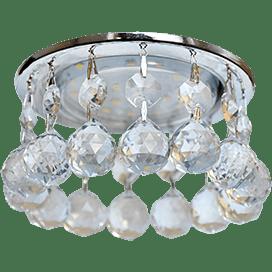 Светильник Ecola GX53 H4 Glass Круглый с большими хрусталиками на прямом подвесе Прозрачный /Хром 90×110