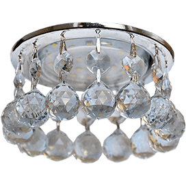 Светильник Ecola GX53 H4 Glass Круглый с большими хрусталиками на прямом подвесе Тонированный/Хром 90×110