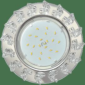 Светильник Ecola GX53 H4 Glass Круг с крупными прозрачными стразами Елочка/фон зерк/центр хром 54×120