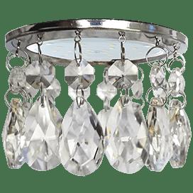 Светильник Ecola GX53 H4 5350 Glass Круг с каплевидными хруст. на прямом подвесе Прозрачный / Хром 102×105