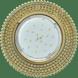 Светильник Ecola GX53 H4 Glass Круг с прозр. страз. (оправа золото)/ фон зерк./центр золото 40×120
