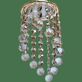 Светильник Ecola GX53 H4 Glass Круглый с большими хрусталиками на подвесе «под скос» Тонированный /Золото 225×110