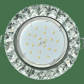 Светильник Ecola GX53 H4 Glass Круг с крупными стразами Конус/фон зерк./центр.часть хром 52×120