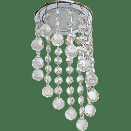 Светильник Ecola GX53 H4 Glass Круглый с большими хрусталиками на подвесе «под скос» Прозрачный /Хром 225×110
