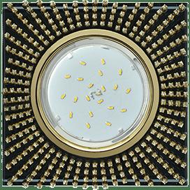 Светильник Ecola GX53 H4 Glass Квадрат с прозр. страз. (оправа золото) фон черн./центр золото 40×123х123