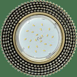 Светильник Ecola GX53 H4 Glass Круг с прозр. страз. (оправа золото)/ фон черн./центр золото 40×120