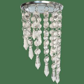 Светильник Ecola GX53 H4 5343 Glass Круг с продолговатыми хруст. на подвесе «под скос» Прозрачный / Хром 240×110