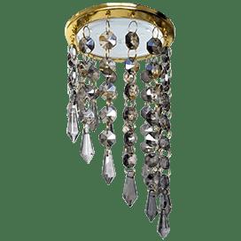 Светильник Ecola GX53 H4 5343 Glass Круг с продолговатыми хруст. на подвесе «под скос» Тонированный / Золото 240×110