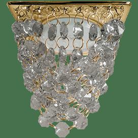 Светильник Ecola GX53 H4 5358 Glass Квадрат «Хрустальная гроздь» Тонированный / Золото 150x110x110