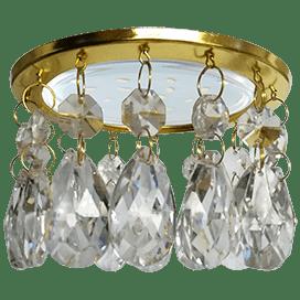 Светильник Ecola GX53 H4 5350 Glass Круг с каплевидными хруст. на прямом подвесе Прозрачный / Золото 102×105