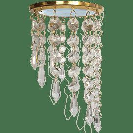 Светильник Ecola GX53 H4 5343 Glass Круг с продолговатыми хруст. на подвесе «под скос» Прозрачный / Золото 240×110