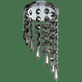 Светильник Ecola GX53 H4 5343 Glass Круг с продолговатыми хруст. на подвесе «под скос» Тонированный / Хром 240×110