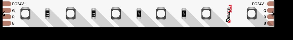Лента светодиодная LUX, 3535, 60 LED/м, 14,4 Вт/м, 24В, IP33, RGB (K)