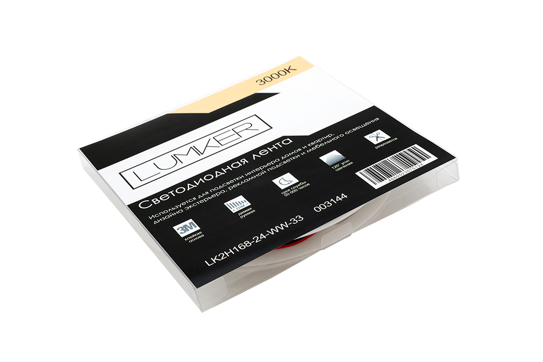 Лента светодиодная LUMKER, 2835, 168 LED/м, 17 Вт/м, 24В, IP33, Теплый белый (3000K)
