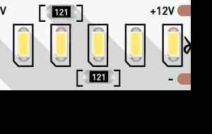 Лента светодиодная стандарт 3014, 240 LED/м, 24 Вт/м, 12В , IP20, Цвет: Теплый белый