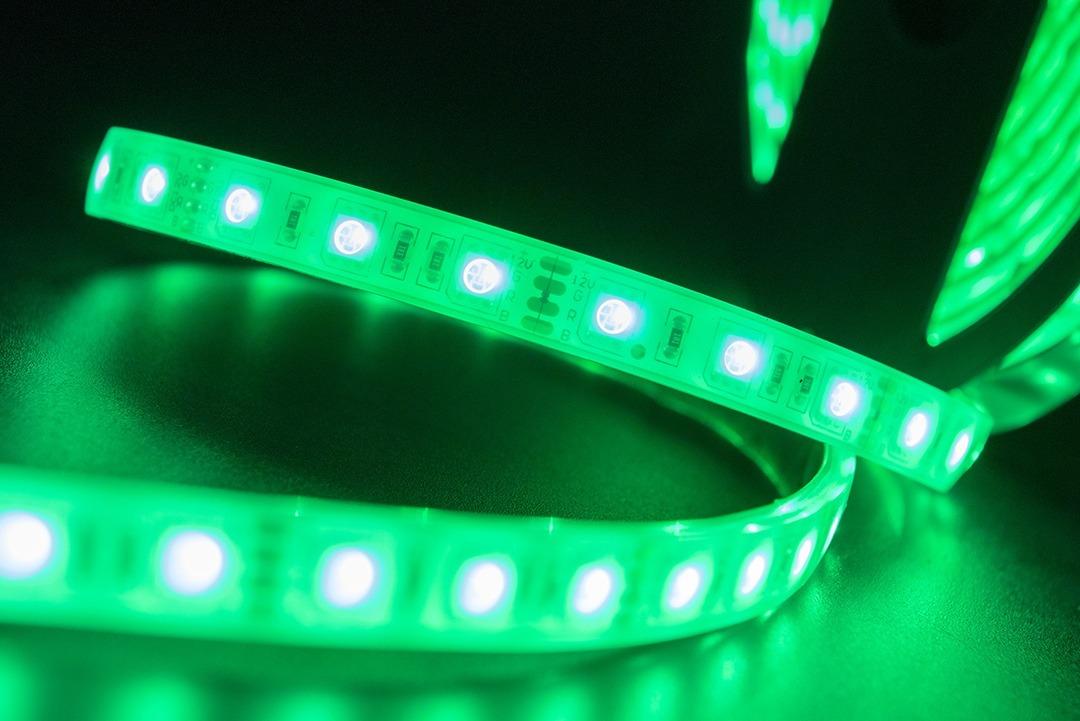 Лента светодиодная стандарт 5050, 60 LED/м, 14,4 Вт/м, 12В , IP68, Цвет: RGB