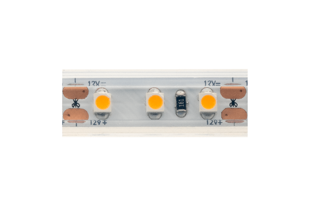 Лента светодиодная LUX, 3528, 120 LED/м, 9,6 Вт/м, 12В, IP65, Теплый белый (2700K)