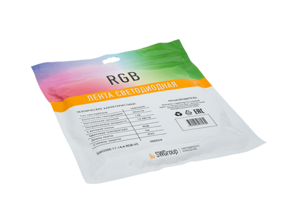 Лента светодиодная однорядная стандарт 5050, 60 LED/м, 14,4 Вт/м, 12В, IP65, Цвет: RGB