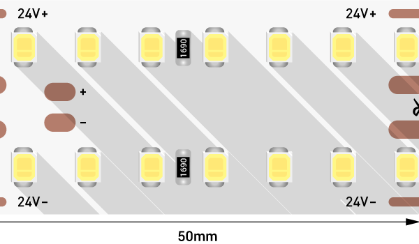 Лента светодиодная LUX, 2835, 280 LED/м, 25 Вт/м, 24В, IP33, Нейтральный белый (4000K)