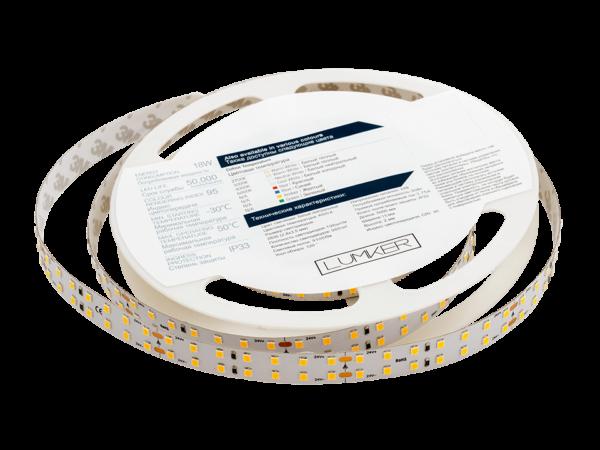 Лента светодиодная LUMKER, 2835, 196 LED/м, 18 Вт/м, 24В, IP33, Нейтральный белый (4000K)