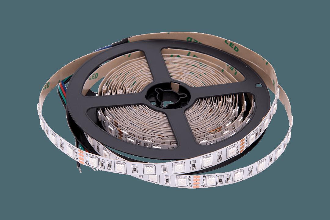 Лента светодиодная стандарт 5050, 60 LED/м, 14,4 Вт/м, 24В , IP20, Цвет: RGB